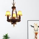 Country Style Cone Chandelier with Pinecone and Antler Parchment Pendant Lamp