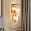 Modern Crystal Fringe Wall Lighting Metal 1 Light Sconce Light Fixture for Living Room and Bedroom