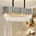 Gray Linear Pendant Lighting Modern Crystal Stainless Steel Hanging Lamp over Kitchen Island