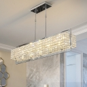 Crystal Rectangle Island Light Contemporary Metal 5 Heads Sparkling Lighting Fixture over Kitchen Island