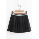 New Fashion Striped Elastic Waist Black Pleated Mini Skirt