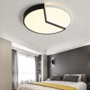 Black and White Round Flush Light with Sector Design Modernism Metal Led Flush Lighting