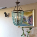 Rustic Green Stone Pendant Lighting 4 Lights Indoor Hanging Ceiling Light for Foyer