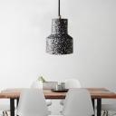 Mini Drum Hanging Ceiling Light Nordic Cement Single Pendant Lighting for Living Room