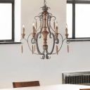 French Country Candle Pendant Light Wood Foyer Chandelier Lighting with Hanging Chain
