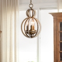 Gourd Chandelier Light with Clear Crystal Bead Vintage 3 Lights Living Room Lighting in Warm Brass