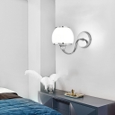 Frosted Glass Dome Sconce Lighting 1 Light Modern Polished Chrome Wall Lighting