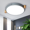 Contemporary Round Flush Mount Iron and Acrylic Ceiling Lights in Grey for Bedroom, White/Three Gear/Stepless Adjusted