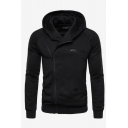 Men's Unique Creative Sloping Zip Up Long Sleeve Plain Casual Hoodie