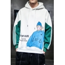 Guys Trendy Letter Figure Printed Colorblocked Long Sleeve Casual Pullover Hoodie