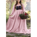 Medieval Corset Dress For Adult Women Boat Neck Long Sleeve Plain A-Line Maxi Dress