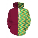 Comic Cosplay 3D Geometry Print Color Block Long Sleeve Red And Green Hoodie
