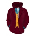Halloween Cosplay Costume 3D Color Block Printed Long Sleeve Burgundy Hoodie