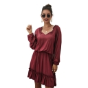 Womens Trendy Plain Tied V-Neck Long Sleeve Ruffled Hem Mini A-Line Dress