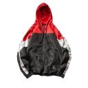 Guys Cool Unique Letter Color Block Zip Up Hooded Sport Track Jacket