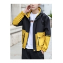 Mens New Stylish Color Block Zip Up Hooded Cargo Jacket