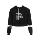 Stranger Things Figure Name Mike Lucas Print Striped Long Sleeve Crop Pullover Hoodie