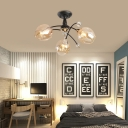 Amber/Blue Curved Semi Flush Mount 3/6 Light Modern Glass Ceiling Light for Living Room