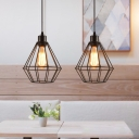 Black Caged Hanging Light Fixtures Vintage Industrial Iron 1 Light Pendant Lighting for Restaurant