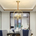 Metallic Candle Chandelier with Globe Cage Restaurant Elegant Style Pendant Light in Gold