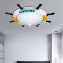 Integrated LED Rudder Flush Light Cartoon Resin Ceiling Flush Mount Light for Boys Bedroom