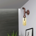 Industrial Retro Pipe Sconce Light Metal and Glass Wall Sconce Lighting in Rust for Corridor