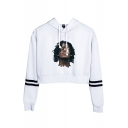 Popular Singer Figure Printed Stripe Long Sleeve Pullover Crop Hoodie