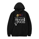 Classic Halloween Hocus Pocus Letter Pattern Long Sleeve Relaxed Unisex Hoodie