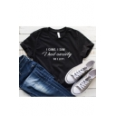 Street Style Letter I HAD ANXIETY Print Round Neck Short Sleeve Black Tee