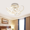Twist Bedroom Semi Flush Mount Light Acyclic Contemporary Ceiling Light Fixture in White