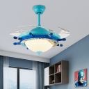 Mediterranean Steering Wheel Ceiling Fixture Glass 1 Light LED Ceiling Fan with Fishnet for Living Room