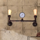 Antique Copper Valve Wall Light Sconces Steel 2 Heads Open Bulb Wall Sconce Lamps for Entry