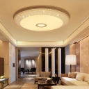 Acrylic Hollow Design Circle Flush Mount Fixture Contemporary Ceiling Light in White for Living Room