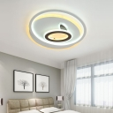Circle/Square Ring Indoor Ceiling Light Acrylic LED Modern Flush Mount Lighting in White