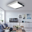 Modern Square/Rectangle Ceiling Light Acrylic Indoor LED Flush Mount Light in Black and White