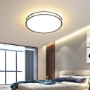 Minimalist Round Flushmount Light Acrylic Integrated Led Flush Lighting in White