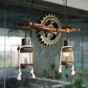 Gear Hanging Pendant Lights Rustic Wood and Metal 2 Heads Hanging Pendant Light for Living Room Bedroom