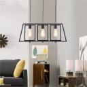 Minimalist 3-Light Ceiling Pendant Light Metal Squared Ceiling Light Fixtures in Black over Kitchen Island
