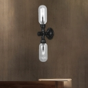 Black Pipe Sconce Lighting Fixtures Antique Metal and Glass Novelty Sconce Lamp for Corridor