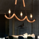 Open Bulb Pendant Lights Village Rope and Iron 3 Light Candle Hanging Lamps for Kitchen Dining