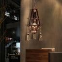 Vintage Lantern Ceiling Pendant Lights Glass and Metal 1 Head Hanging Lights with Tassel for Restaurant