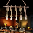 Rope Island-Light Rustic Metal 3/5 Light Open Bulb Ceiling Pendant Light over Kitchen Island