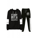 Straight Outta Dunder Mifflin Letter Print Drawstring Hoodie with Joggers Sweatpants Two-Piece Set