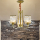 Gold Square Chandelier Light Mid Century Modern Crystal and Iron Pendant Chandelier for Living Room and Bedroom