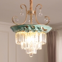 Green Three-Tier Pendant Chandelier Traditional Crystal and Metal 5 Light Pendant Lights for Kitchen Dining