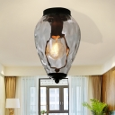 Blown Glass Flush Ceiling Lights for Bedroom, Modern Unique Flush Mount Light in Black