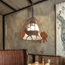 Unique Animal Pendant Light Fixtures Modern Iron and Glass 1 Head Bell Hanging Ceiling Light for Indoor