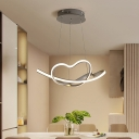 Loving Heart Hanging Ceiling Light Modern Simple Led Acrylic Chandelier Lighting in Gray