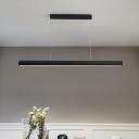 Black Linear Chandelier Lighting Simple Modern Metal Integrated Led Hanging Lamp for Kitchen