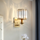 Crystal Fringe Wall Sconce Light Mid Century Metal 1 Head Cylinder Wall Lamp Sconce for Bedside